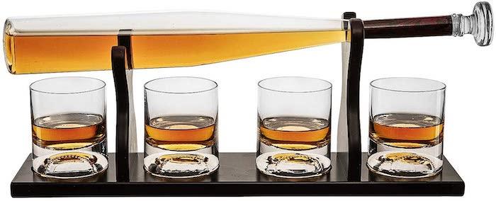 Baseball Bat Whiskey Decanter and 4 Glasses