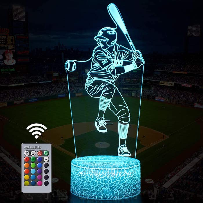 Baseball Man 3D Lamp Night Light with Remote & Touch Control